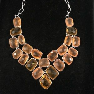 Light Brown Topaz Necklace in Silver